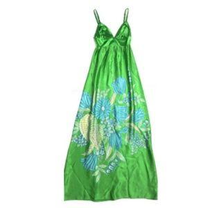 Alice & Trixie XS Green Maxi Dress Silk Long Print